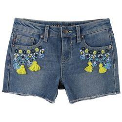 Vigoss Little Girls Floral Tassel Embroidered Denim Shorts