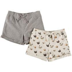 Vigoss Little Girls 2-pk. Dog Print & Heather Cuffed Shorts