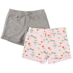 Vigoss Little Girls 2-pk. Summer Fun Print & Heather Shorts