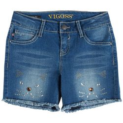 Vigoss Little Girls Cat Embellished Denim Shorts