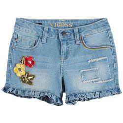 Vigoss Little Girls Floral Embroidered Ruffle Denim Shorts