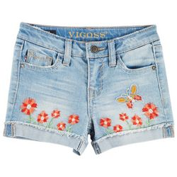 Vigoss Little Girls Garden Embroidered Denim Shorts