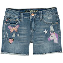 Vigoss Little Girls Fantasyland Embroidered Denim Shorts