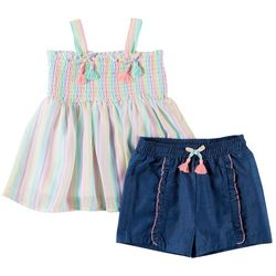 Forever Me Little Girls 2-pc. Smocked Top and Shorts Set