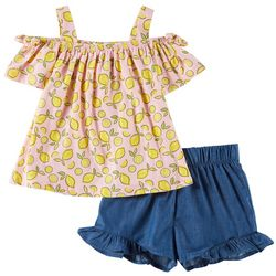Forever Me Little Girls 2-pc. Lemon Split Back Short Set