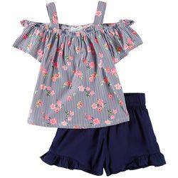 Forever Me Little Girls 2-pc. Striped Split Back Short Set