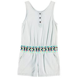 Squeeze Little Girls Tribal Waist Chambray Romper
