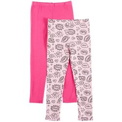 Flapdoodles Little Girls 2-pk. Omg Print & Solid Leggings