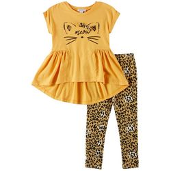 Flapdoodles Little Girls 2-pc. Meow Leggings Set