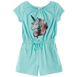 Flapdoodles Little Girls Sequin Unicorn Romper