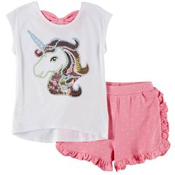 Flapdoodles Little Girls 2-pc. Unicorn Dots Short Set