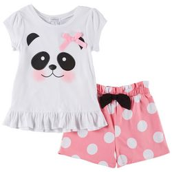 Flapdoodles Little Girls 2-pc. Polka Dot Panda Short Set