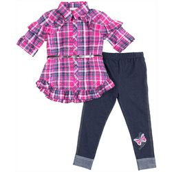 Little Lass Little Girls Plaid Embellished Leggings Set