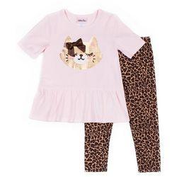 Little Lass Little Girls Leopard Print Cat Leggings Set