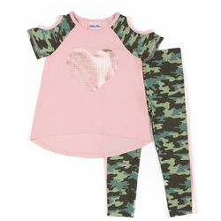 Little Lass Little Girls Camo Heart Leggings Set