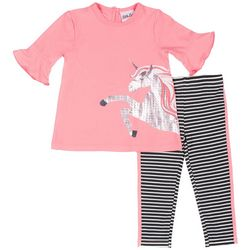 Little Lass Little Girls Unicorn Striped Leggings Set