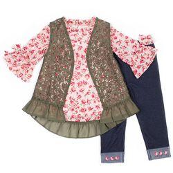 Little Lass Little Girls 3-pc. Floral Lace Vest Leggings Set