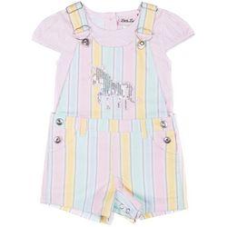 Little Lass Little Girls Stripe Sequin Unicorn Shortalls Set