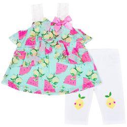 Little Lass Little Girls Fruit Print Leggings Set