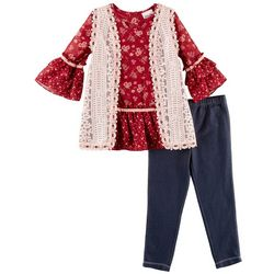 Little Lass Little Girls 3-pc. Boho Crochet Vest Jegging Set