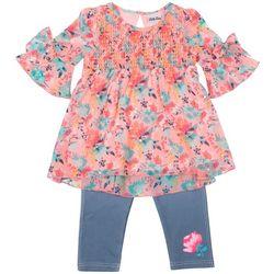 Little Lass Little Girls Floral Disco Dot Leggings Set
