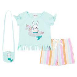 Little Lass Little Girls 3-pc. Bunny Stripe Short Set