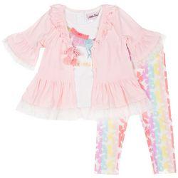 Little Lass Little Girls 3-pc. Unicorn Dream Leggings Set
