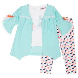 Little Lass Little Girls 3-pc. Mermaid Caridigan Legging Set