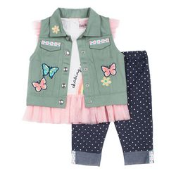 Little Lass Little Girls 3-pc. Butterfly Vest Leggings Set