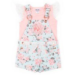 Little Lass Little Girls Floral Shortalls Set