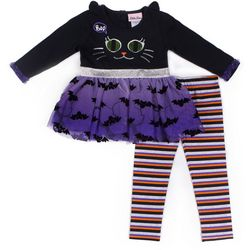 Little Lass Little Girls Boo Cat Tutu Leggings Set