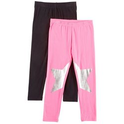 Freestyle Little Girls 2-pk. Foil Star & Solid Leggings