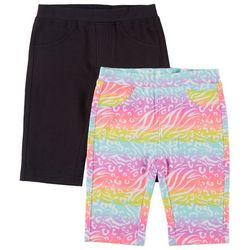 Freestyle Little Girls 2-pk. Animal & Solid Bermuda Shorts