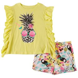 Kidtopia Little Girls 2-pc. Pineapple Short Set