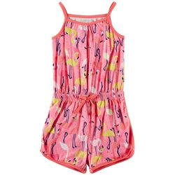 Kidtopia Little Girls Flamingo Print Sleeveless Romper