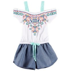 RMLA Little Girls Tribal Cold Shoulder Romper