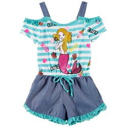 RMLA Big Girls Cutie Mermaid Cold Shoulder Romper