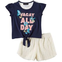 RMLA Little Girls 2-pc. Vacay All Day Lace Short Set