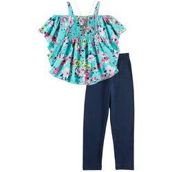 RMLA Little Girls 3-pc. Floral Poncho Leggings Set