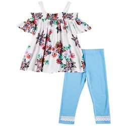 RMLA Little Girls Floral Cold Shoulder Leggings Set