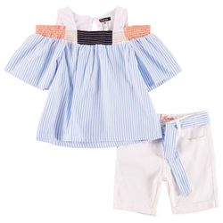Kensie Little Girls Stripe Cold Shoulder Shorts Set