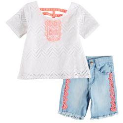 Kensie Little Girls Chevron Crochet Shorts Set