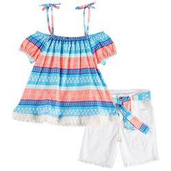 Kensie Little Girls Floral Stripe Off Shoulder Shorts Set