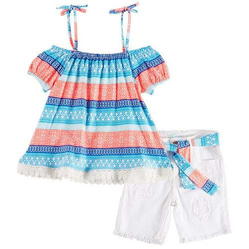 448c8f22637a Kensie Little Girls Floral Stripe Off Shoulder Shorts Set