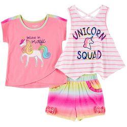 Nannette Little Girls 3-pc. Unicorn Squad Short Set