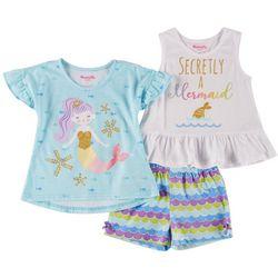Nannette Little Girls 3-pc. Secretly a Mermaid Shorts Set
