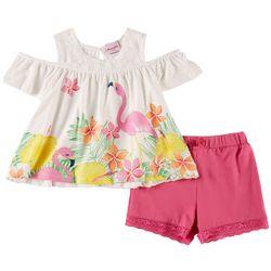 Nannette Little Girls Flamingo Cold Shoulder Set