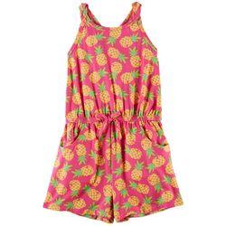 Nannette Little Girls Pineapple Print Braided Back Romper