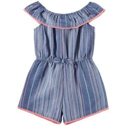 Nannette Little Girls Striped Denim Romper