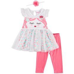 Nannette Little Girls 3-pc. Mermaid Dress Leggings Set